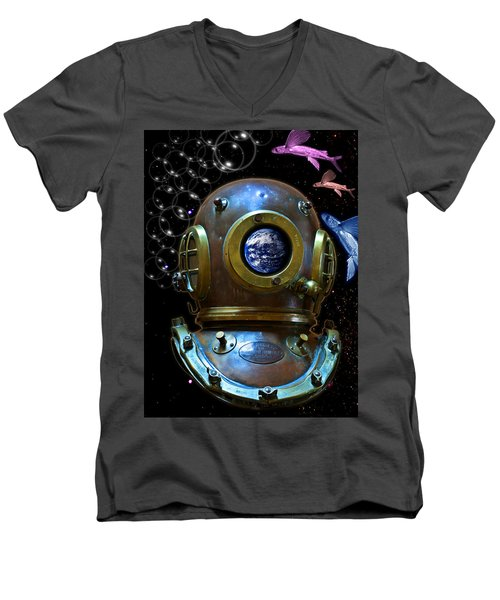 Deep Diver In Delirium Of Blue Dreams Men's V-Neck T-Shirt by Pedro Cardona
