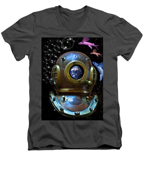 Deep Diver In Delirium Of Blue Dreams Men's V-Neck T-Shirt