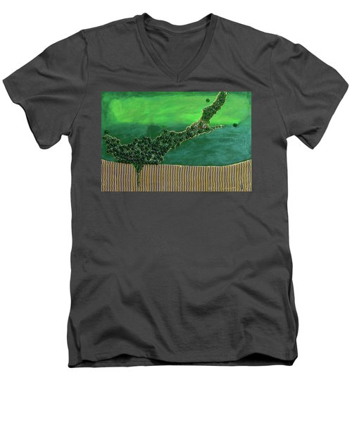 Deep Impact Men's V-Neck T-Shirt by Donna Blackhall