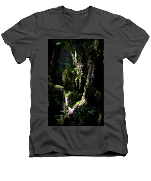 Men's V-Neck T-Shirt featuring the photograph Deep In The Forest by Lori Seaman