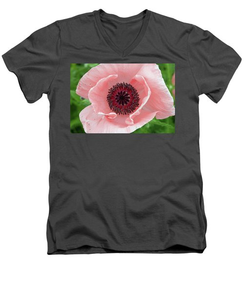 Deep Pink Men's V-Neck T-Shirt by Jim Gillen