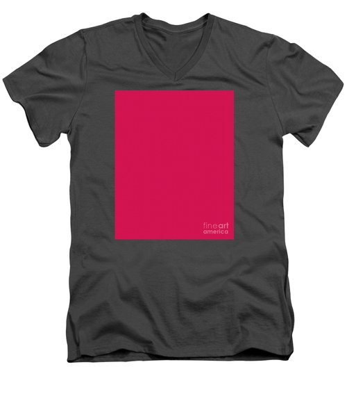 Deep Pink Textured Men's V-Neck T-Shirt