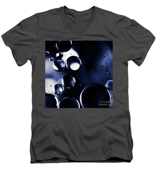 Men's V-Neck T-Shirt featuring the photograph deep purple blue tones Macro Water Droplets by Sharon Mau