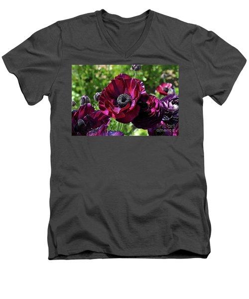 Deep Ranunculus Men's V-Neck T-Shirt