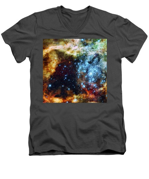 Deep Space Fire And Ice 2 Men's V-Neck T-Shirt by Jennifer Rondinelli Reilly - Fine Art Photography