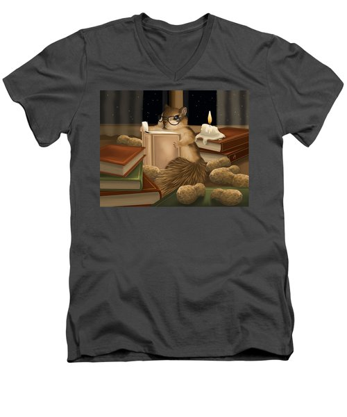 Men's V-Neck T-Shirt featuring the painting Deep Study by Veronica Minozzi