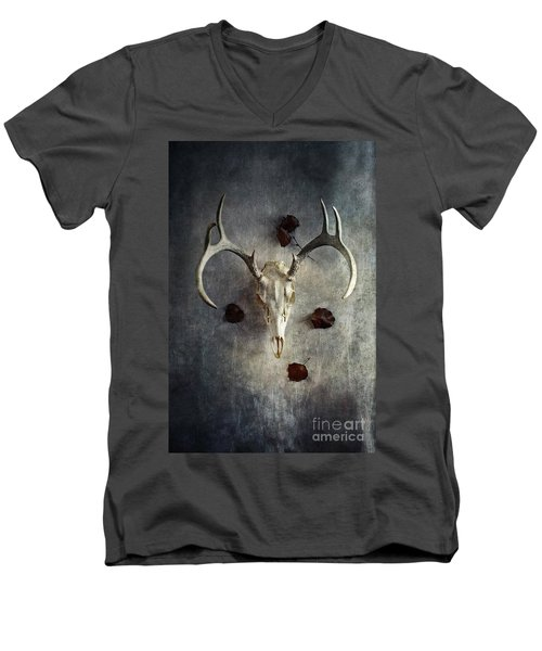 Deer Buck Skull With Fallen Leaves Men's V-Neck T-Shirt by Stephanie Frey