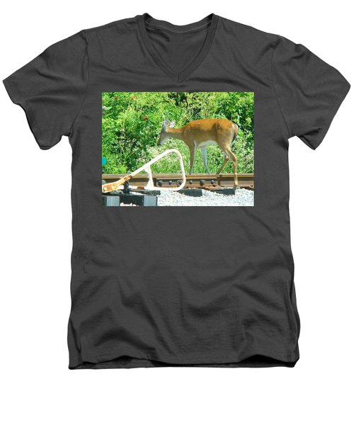 Deer Crossing Men's V-Neck T-Shirt by J R Seymour