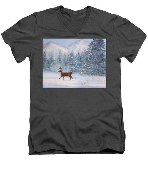 Deer In The Snow Men's V-Neck T-Shirt