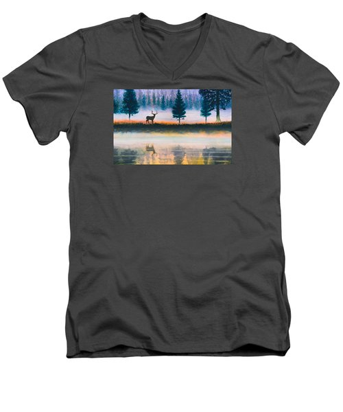 Deer Morning Men's V-Neck T-Shirt by Douglas Castleman