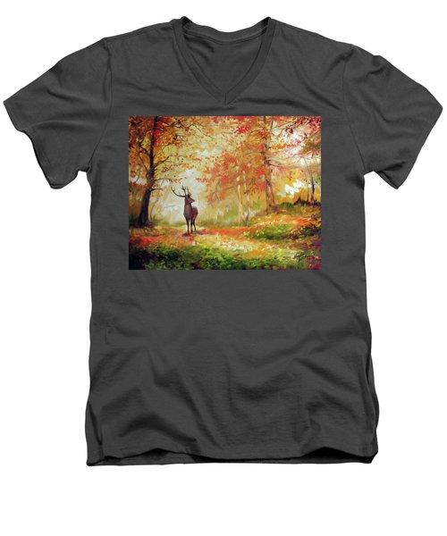 Deer On The Wooden Path Men's V-Neck T-Shirt