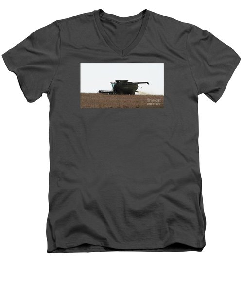 Men's V-Neck T-Shirt featuring the photograph Deere Harvesting by J L Zarek