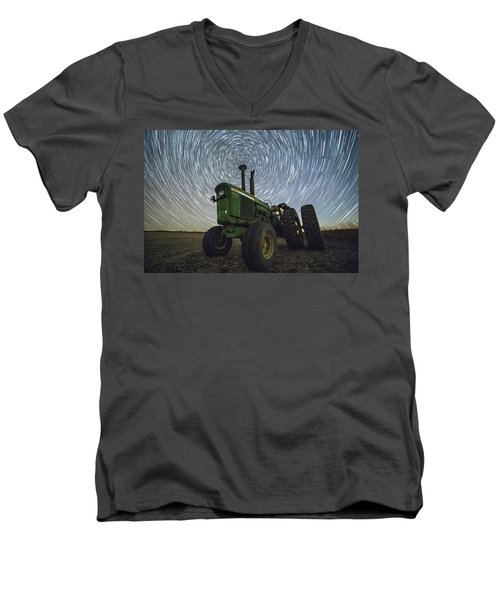 Men's V-Neck T-Shirt featuring the photograph Deere Trails  by Aaron J Groen