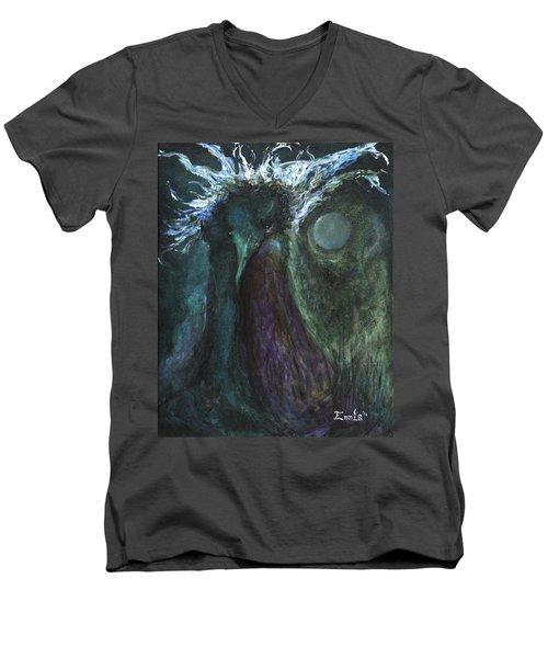 Men's V-Neck T-Shirt featuring the painting Deformed Transcendence by Christophe Ennis