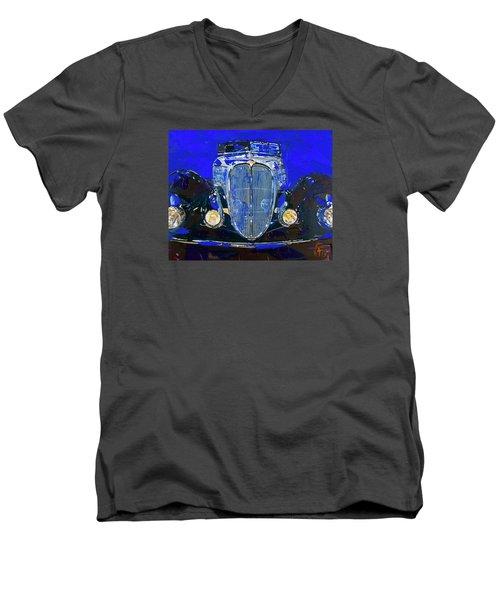 Delahaye Vintage Car Blue Men's V-Neck T-Shirt by Walter Fahmy