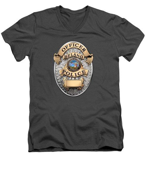 Men's V-Neck T-Shirt featuring the digital art Delano Police Department - Officer Badge Over Blue Velvet by Serge Averbukh