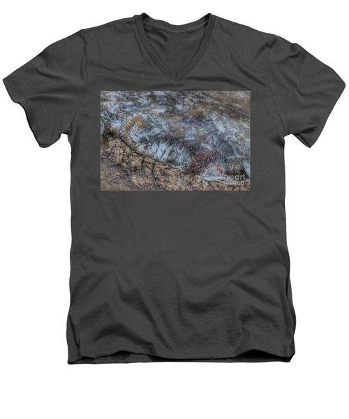 Delaware River Ice With Leaves Men's V-Neck T-Shirt