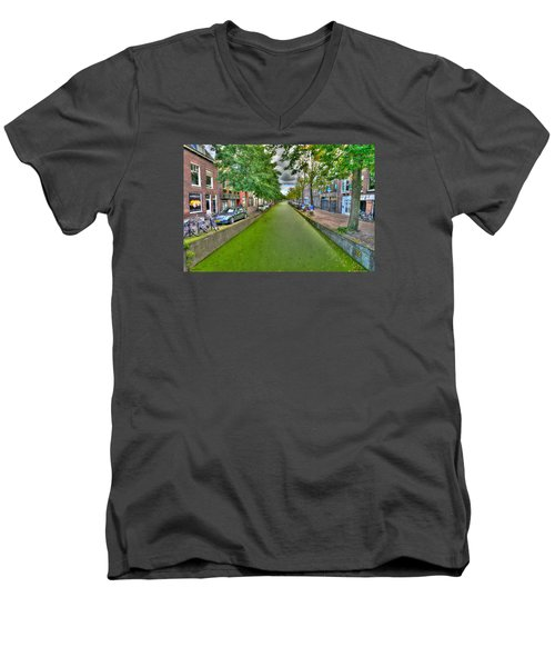 Men's V-Neck T-Shirt featuring the photograph Delft Canals by Uri Baruch