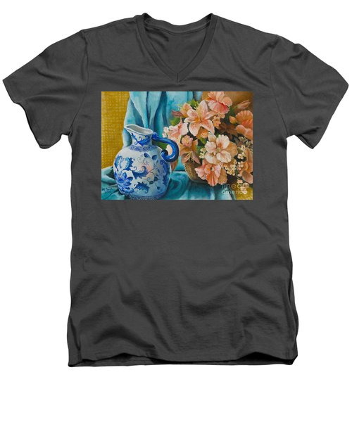 Delft Pitcher With Flowers Men's V-Neck T-Shirt by Marlene Book
