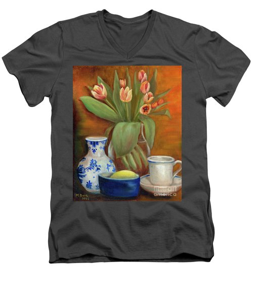 Men's V-Neck T-Shirt featuring the painting Delft Vase And Mini Tulips by Marlene Book