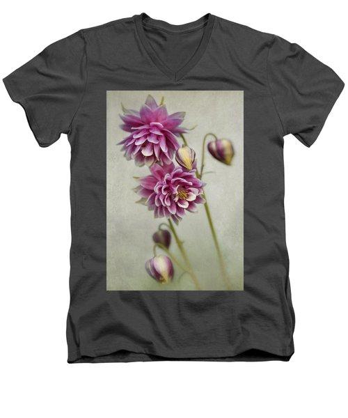 Delicate Pink Columbine Men's V-Neck T-Shirt