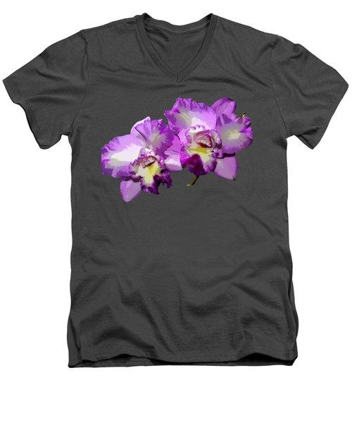 Delicate Purple Orchids Men's V-Neck T-Shirt by Phyllis Denton