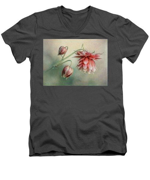 Delicate Red Columbine Men's V-Neck T-Shirt