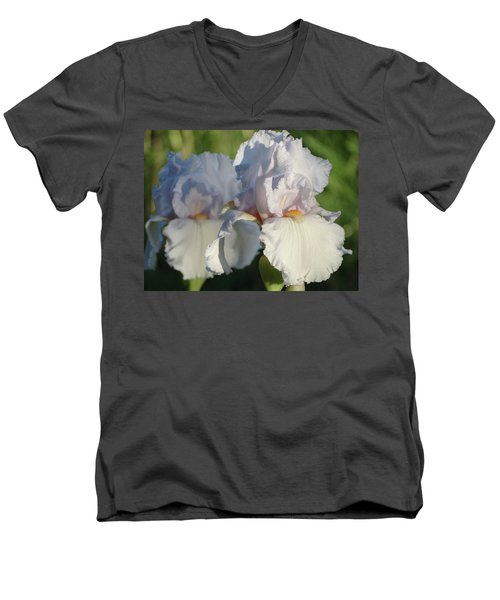 Delicate White Iris Men's V-Neck T-Shirt by Rebecca Overton
