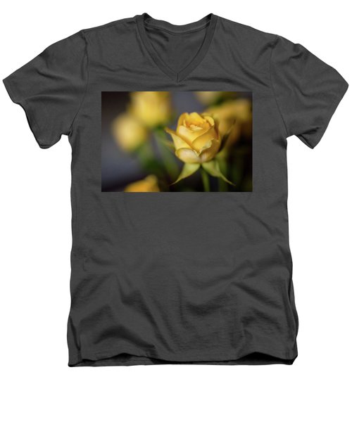 Men's V-Neck T-Shirt featuring the photograph Delicate Yellow Rose  by Terry DeLuco