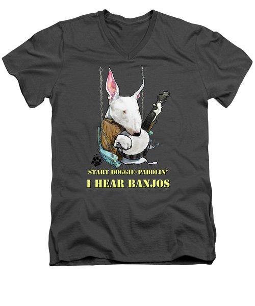 Deliverance Bull Terrier Caricature Art Print Men's V-Neck T-Shirt
