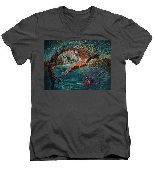 Deliverance Men's V-Neck T-Shirt by Claudia Goodell
