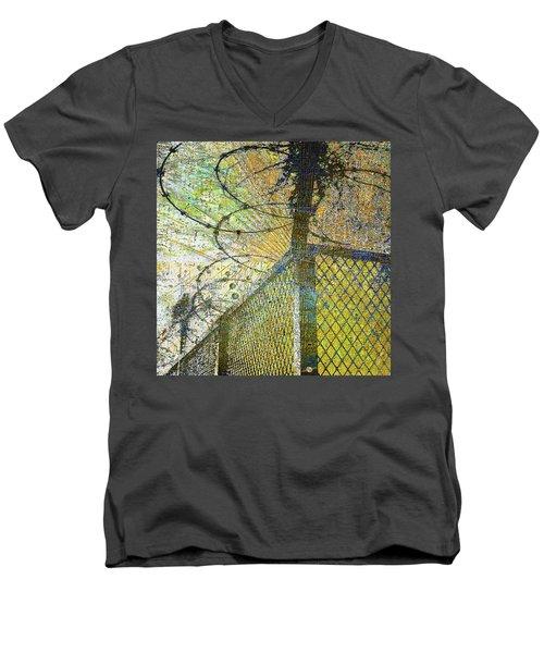 Men's V-Neck T-Shirt featuring the mixed media Deliverance by Tony Rubino