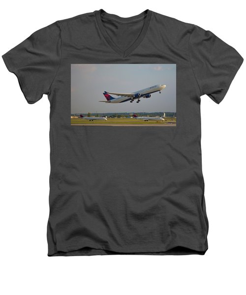 Delta Airlines Jet N827nw Airbus A330-300 Atlanta Airplane Art Men's V-Neck T-Shirt