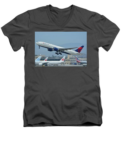 Men's V-Neck T-Shirt featuring the photograph Delta Boeing 777-232lr N703dn Los Angeles International Airport May 3 2016 by Brian Lockett