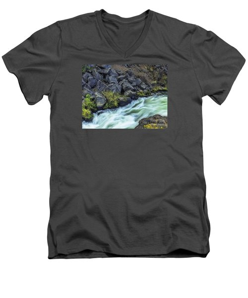 Deluge At The Falls Men's V-Neck T-Shirt by Nancy Marie Ricketts