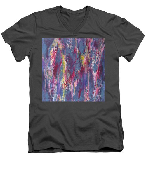 Men's V-Neck T-Shirt featuring the painting Delve Deep 2 by Mini Arora