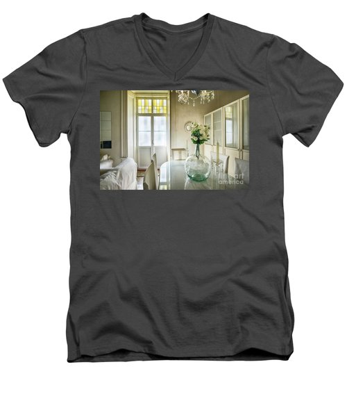 Men's V-Neck T-Shirt featuring the photograph Demijohn And Window Color Cadiz Spain by Pablo Avanzini