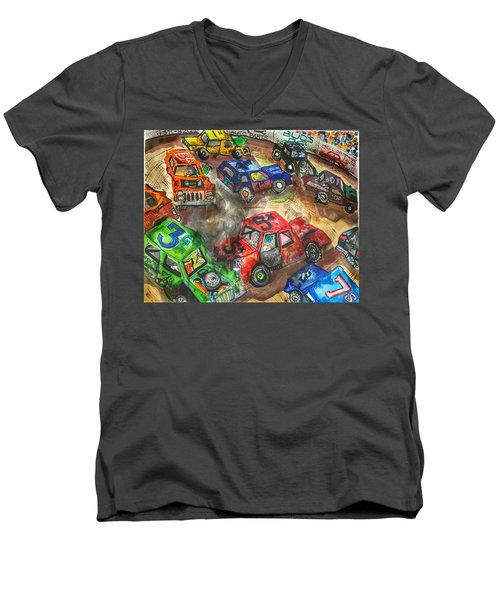 Men's V-Neck T-Shirt featuring the painting Demo Derby One by Jame Hayes