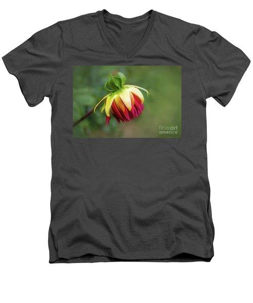 Demure Dahlia Bud Men's V-Neck T-Shirt