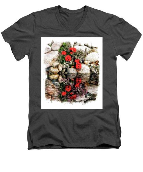 Denali National Park Flowers Men's V-Neck T-Shirt by Joseph Hendrix