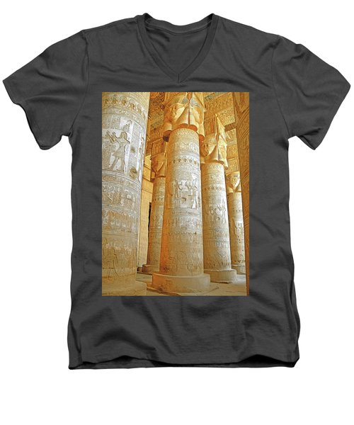Dendera Temple Men's V-Neck T-Shirt by Nigel Fletcher-Jones