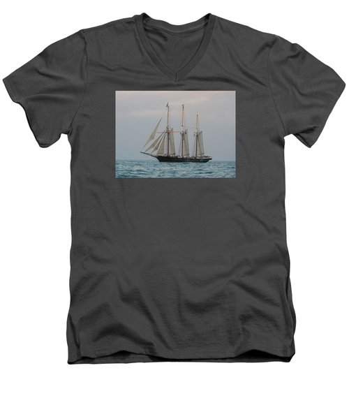 Denis Sullivan Out On An Evening Sail Men's V-Neck T-Shirt by Janice Adomeit