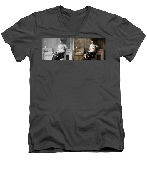 Men's V-Neck T-Shirt featuring the photograph Dentist - Good Oral Hygiene 1918 - Side By Side by Mike Savad