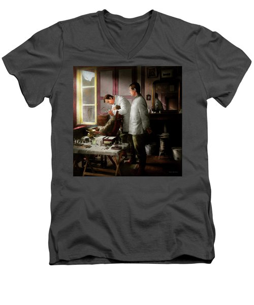 Men's V-Neck T-Shirt featuring the photograph Dentist - The Horrors Of War 1917 by Mike Savad