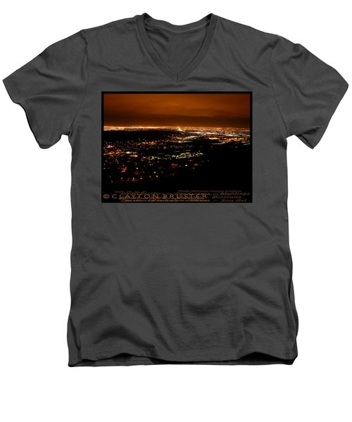 Denver Area At Night From Lookout Mountain Men's V-Neck T-Shirt