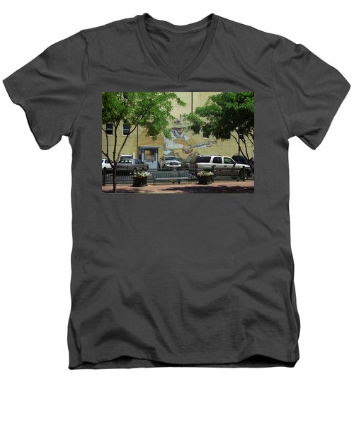 Men's V-Neck T-Shirt featuring the photograph Denver Cowboy Parking by Frank Romeo