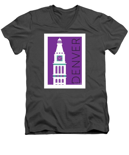 Denver D And F Tower/purple Men's V-Neck T-Shirt