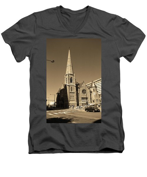 Men's V-Neck T-Shirt featuring the photograph Denver Downtown Church Sepia by Frank Romeo