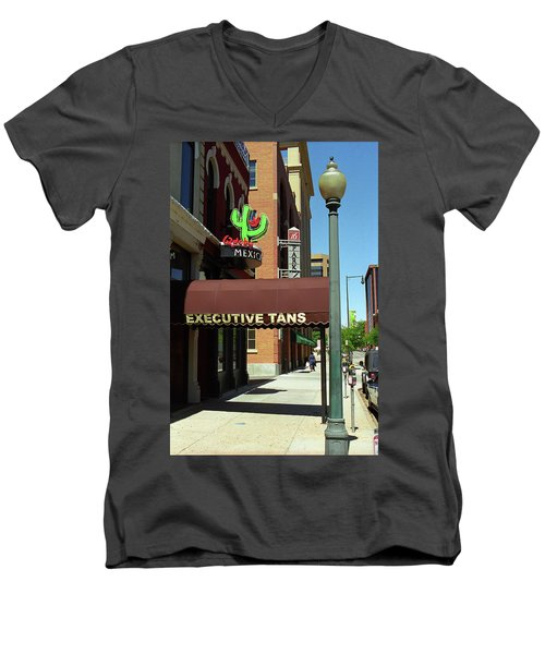 Men's V-Neck T-Shirt featuring the photograph Denver Downtown Storefront by Frank Romeo