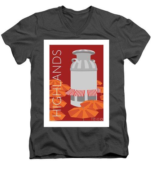Denver Highlands/maroon Men's V-Neck T-Shirt